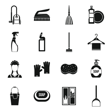 dusting: House cleaning icons set in simple style. Maid service set collection vector illustration