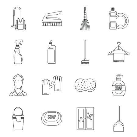 laundry hanger: House cleaning icons set in outline style. Maid service set collection vector illustration