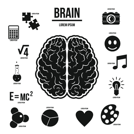 brain function: Human brain infographics set in simple style. Brain function set collection vector illustration