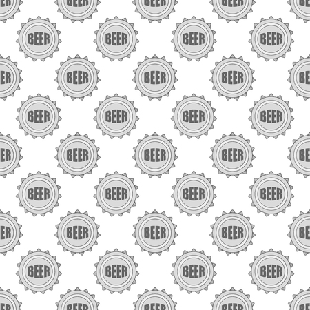 alcoholic beverage: Cover beer seamless pattern on white background. Alcoholic beverage design vector illustration
