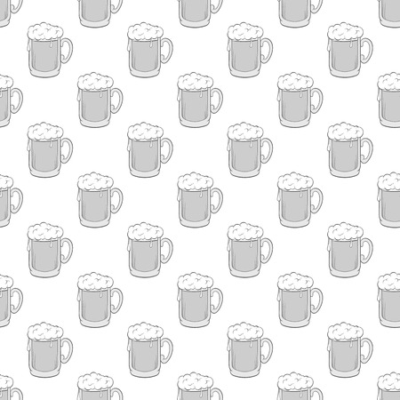 alcoholic beverage: Glass of beer seamless pattern on white background. Alcoholic beverage design vector illustration