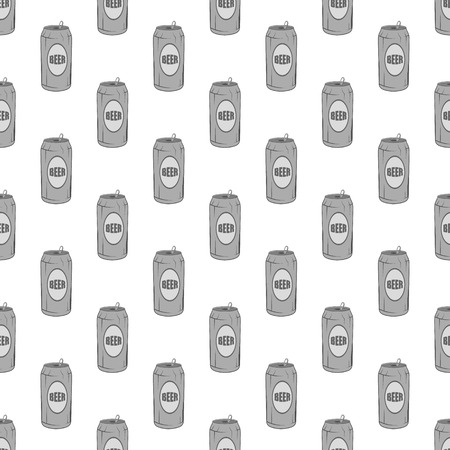 alcoholic beverage: Aluminum beer seamless pattern on white background. Alcoholic beverage design vector illustration