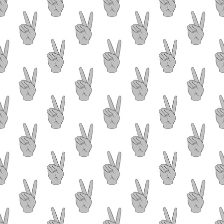 gesticulate: Gesture victoria seamless pattern on white background. Gesticulate design vector illustration
