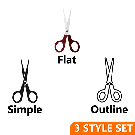 Scissors icons set in flat, simple and outline style isolated on white background. Haircuts symbol vector illustration Illustration