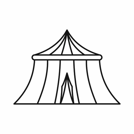 cupola: Circus tent icon in outline style on a white background vector illustration