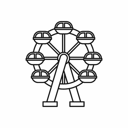 Ferris wheel icon in outline style on a white background vector illustration
