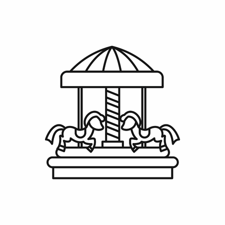 merry go round: Merry go round horse ride icon in outline style on a white background vector illustration