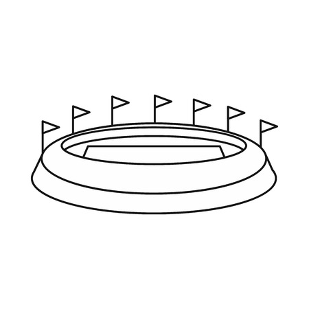 real tennis: Stadium icon in outline style on a white background vector illustration Illustration