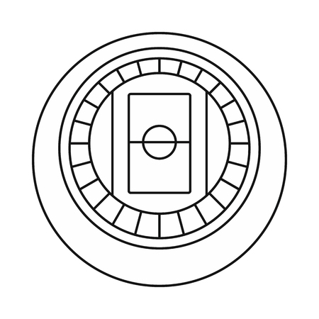 real tennis: Round stadium top view icon in outline style on a white background vector illustration Illustration