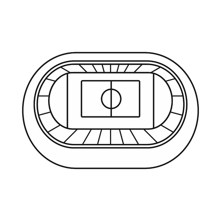 real tennis: Stadium top view icon in outline style on a white background vector illustration