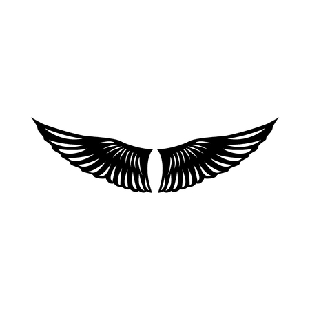 ornithology: Bird wings icon in simple style on a white background vector illustration