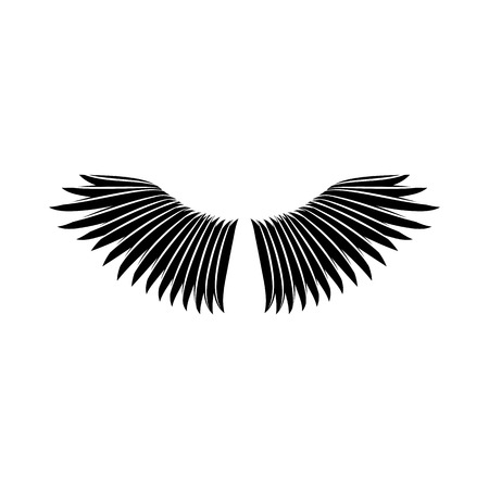 two birds: Bird wings icon in simple style on a white background vector illustration