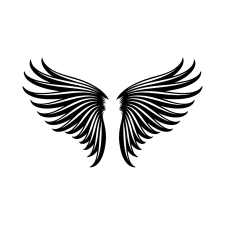 animal angelic: Wings icon in simple style on a white background vector illustration