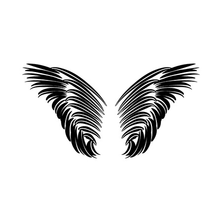 ornithology: Pair of wings icon in simple style on a white background vector illustration