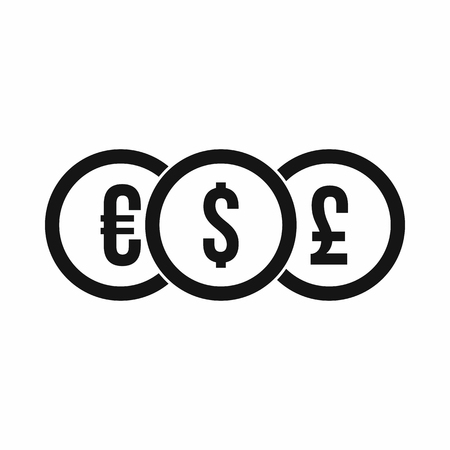 pound coin: Euro, dollar, pound coin icon in simple style on a white background vector illustration Illustration