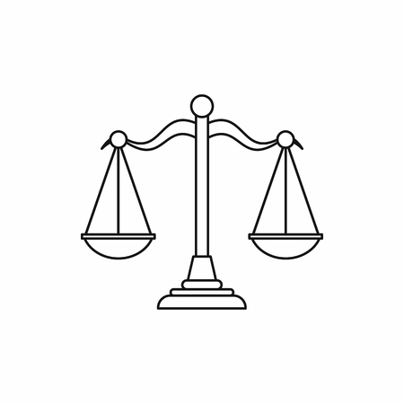 Scales of justice icon in outline style on a white background vector illustration Stock Illustratie