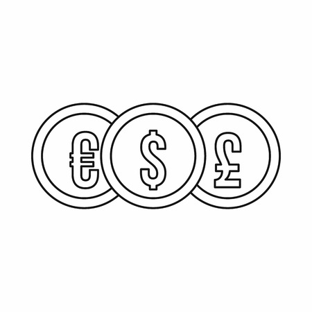 pound coin: Euro dollar pound coin icon in outline style on a white background vector illustration