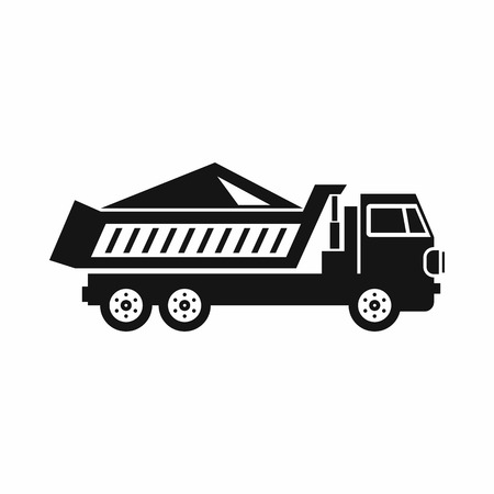 earth moving: Dump track icon in simple style on a white background vector illustration