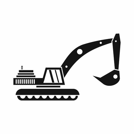 mine site: Excavator icon in simple style on a white background vector illustration