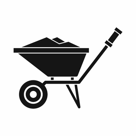 Wheelbarrow icon in simple style on a white background vector illustration