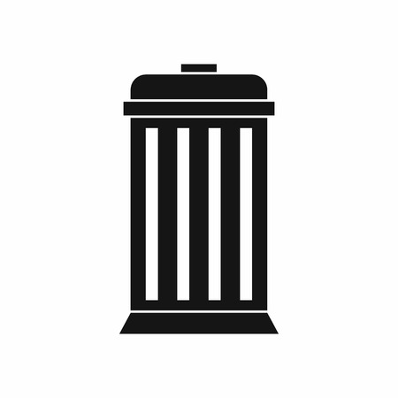 useless: Trash can in simple style isolated on white background vector illustration