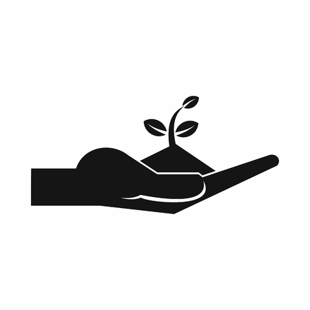 maturity: Sprout in the human hand in simple style isolated on white background vector illustration Illustration