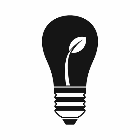 fertilize: Ecology idea bulb with plant in simple style isolated on white background vector illustration
