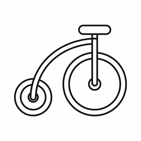 single seat: Highwheel bike icon in outline style on a white background vector illustration