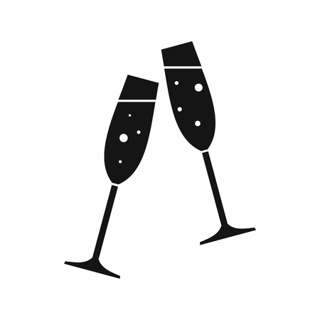 Two glasses of champagne in simple style isolated on white background vector illustration