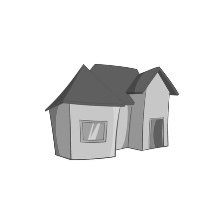 storey: One storey residential house icon in black monochrome style isolated on white background. Building symbol vector illustration