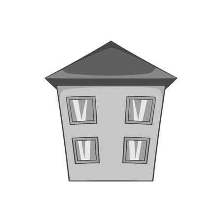 two storey house: Two storey house icon in black monochrome style isolated on white background. Building symbol vector illustration