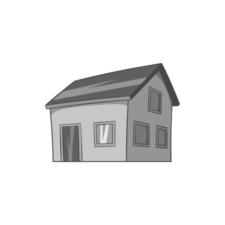 attic: House with attic icon in black monochrome style isolated on white background. Building symbol vector illustration