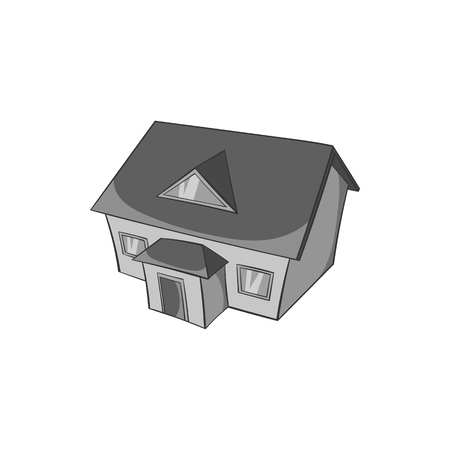 large house: Large house with attic icon in black monochrome style isolated on white background. Building symbol vector illustration Illustration