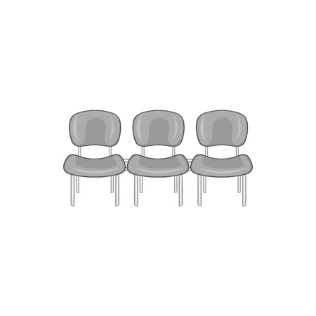 Chairs at airport icon in black monochrome style isolated on white background. Sit symbol vector illustration Illustration