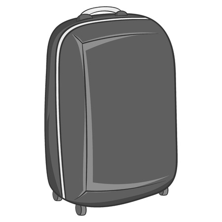 luggage carrier: Suitcase on wheels icon in black monochrome style isolated on white background. Luggage symbol vector illustration
