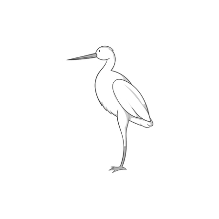 Stork icon in black monochrome style isolated on white background. Bird symbol vector illustration