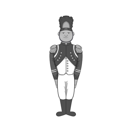 militant: French soldiers in uniform icon in black monochrome style isolated on white background. Military symbol vector illustration