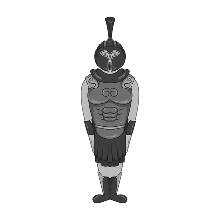 militant: Roman soldier icon in black monochrome style isolated on white background. Military symbol vector illustration Illustration
