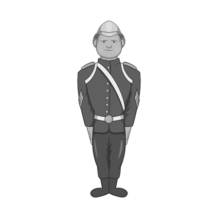 militant: German soldiers in uniform icon in black monochrome style isolated on white background. Military symbol vector illustration Illustration