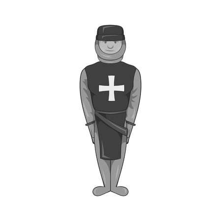militant: Warrior crusader icon in black monochrome style isolated on white background. Military symbol vector illustration