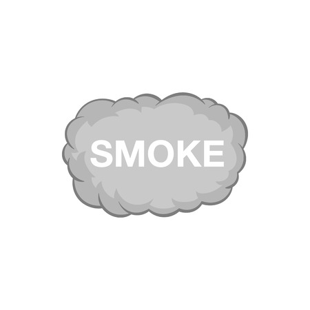 emit: Cloud of smoke icon in black monochrome style isolated on white background. Pollution symbol vector illustration