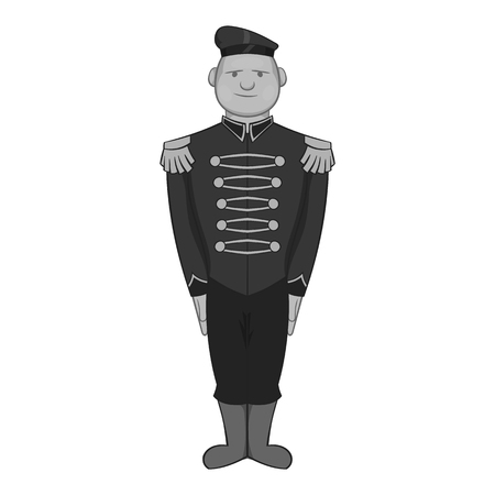 militant: British soldier in uniform icon in black monochrome style isolated on white background. Military symbol vector illustration