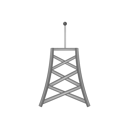 cell phone transmitter tower: Cell phone tower icon in black monochrome style isolated on white background. Connection symbol vector illustration
