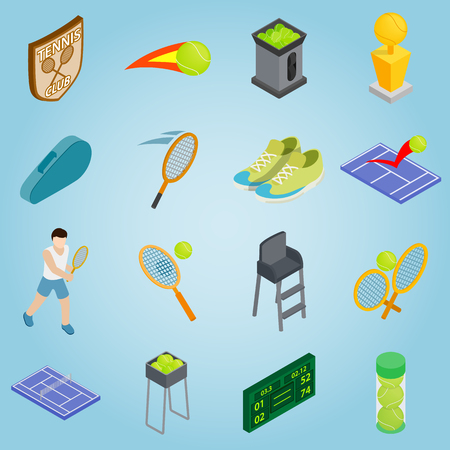 tennis shoe: Isometric tennis icons set. Universal tennis icons to use for web and mobile UI, set of basic tennis elements vector illustration