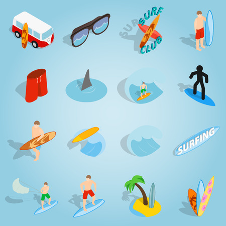 combi: Isometric surfing icons set. Universal surfing icons to use for web and mobile UI, set of basic surfing elements vector illustration