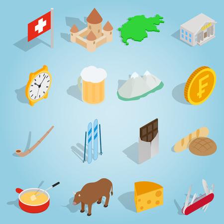 Isometric switzerland icons set. Universal switzerland icons to use for web and mobile UI, set of basic switzerland elements vector illustration Illustration