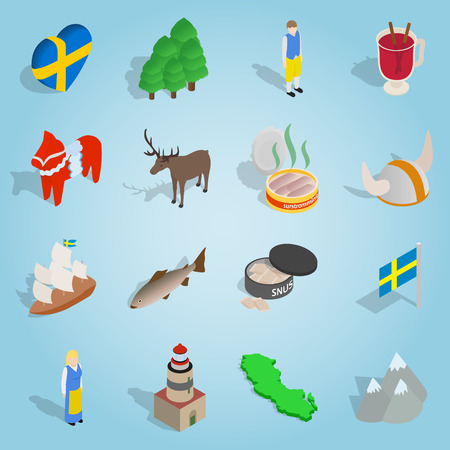 Isometric sweden icons set. Universal sweden icons to use for web and mobile UI, set of basic sweden elements vector illustration