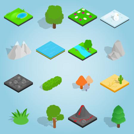 Isometric landscape icons set. Universal landscape icons to use for web and mobile UI, set of basic landscape elements vector illustration
