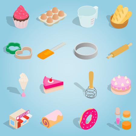 rolling bag: Isometric bakery icons set. Universal bakery icons to use for web and mobile UI, set of basic bakery elements vector illustration