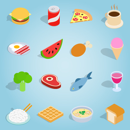 Isometric dinner icons set. Universal dinner icons to use for web and mobile UI, set of basic dinner elements vector illustration